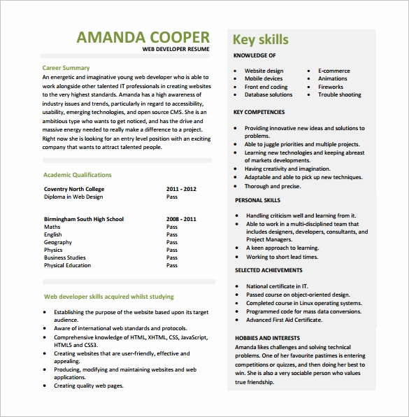 Web Developer Resume Sample Lovely 11 Web Developer Resume Templates Doc Pdf