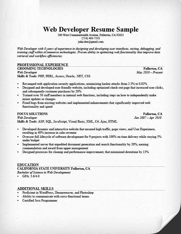 Web Developer Resume Sample Lovely Web Developer Resume format Web Developer Resume Sample