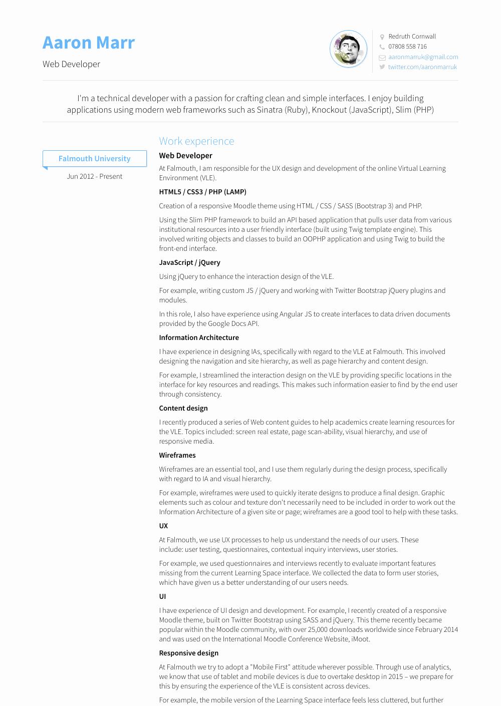 Web Developer Resume Sample Lovely Web Developer Resume Samples & Templates