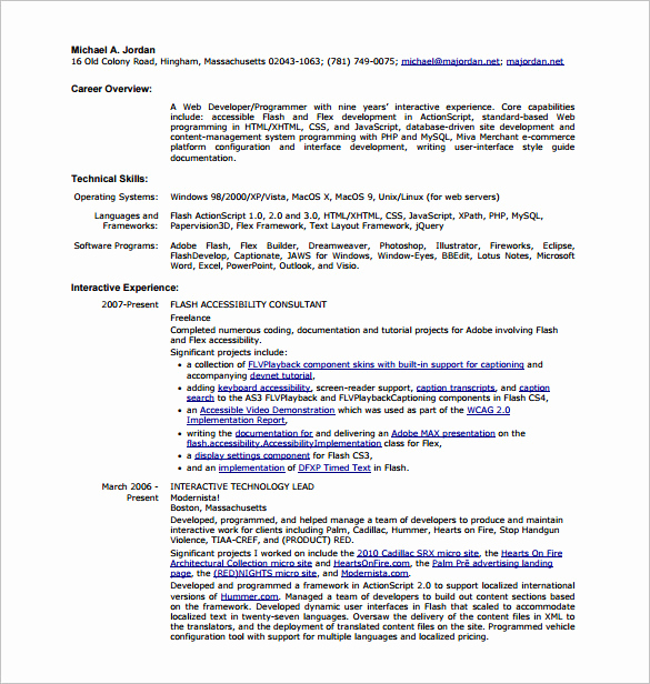Web Developer Resume Sample Luxury 11 Web Developer Resume Templates Doc Pdf
