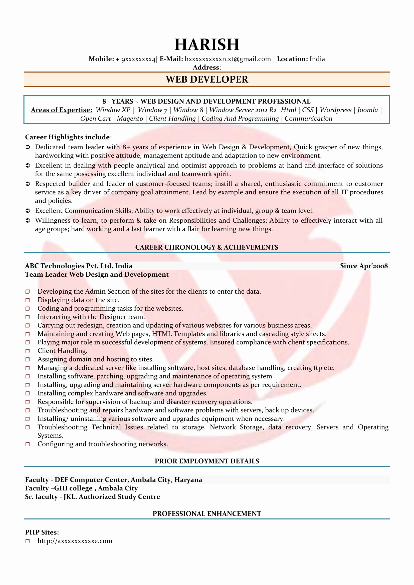 Web Developer Resume Sample New Web Developer Sample Resumes Download Resume format
