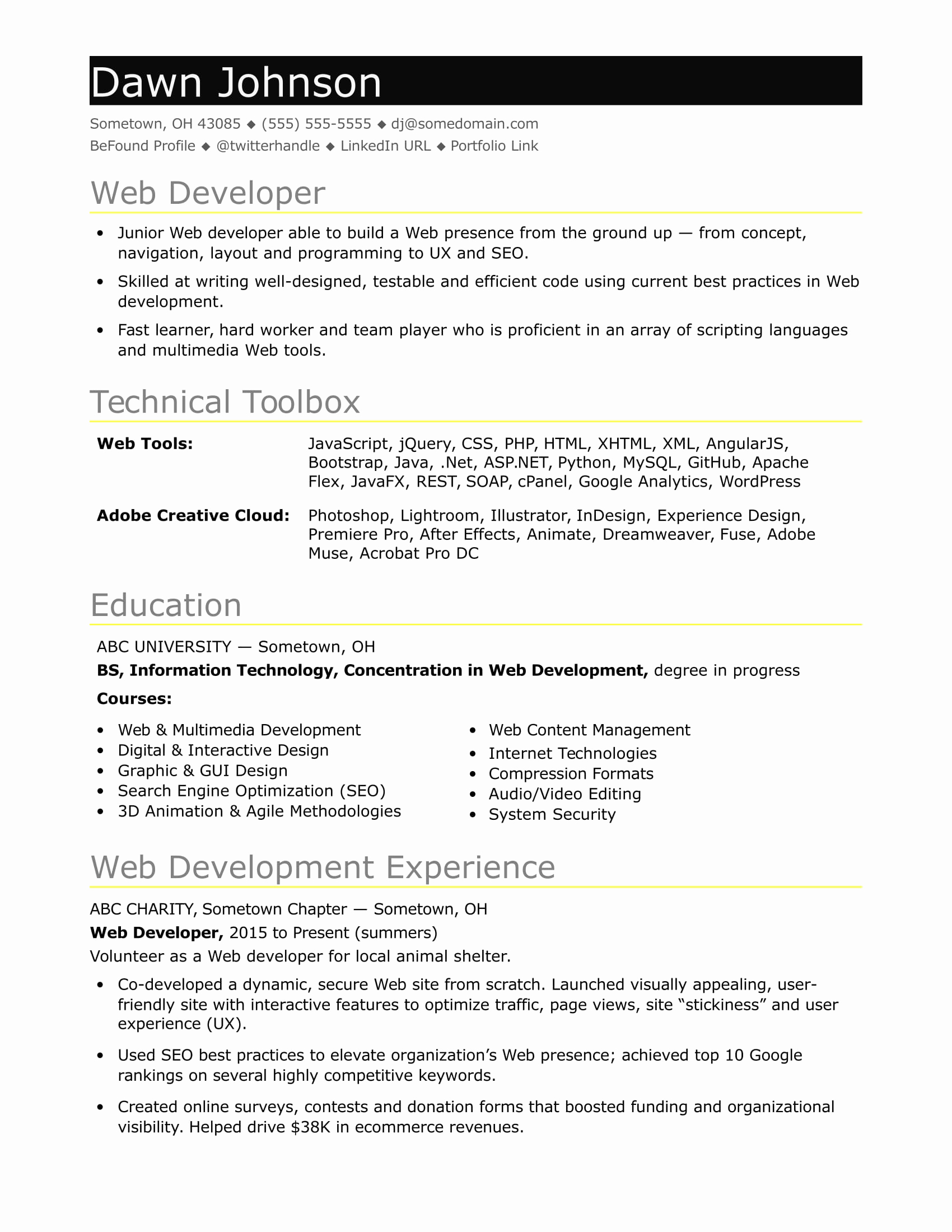 Web Developer Resume Template Awesome Sample Resume for An Entry Level It Developer