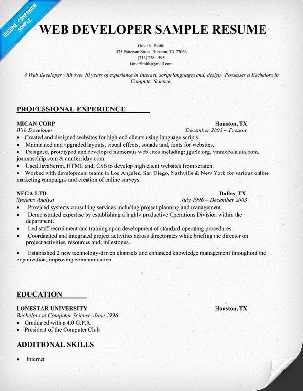 Web Developer Resume Template Awesome Web Developer Resume Sample Resume Panion