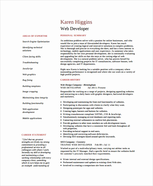Web Developer Resume Template Elegant 8 Web Developer Resume Templates
