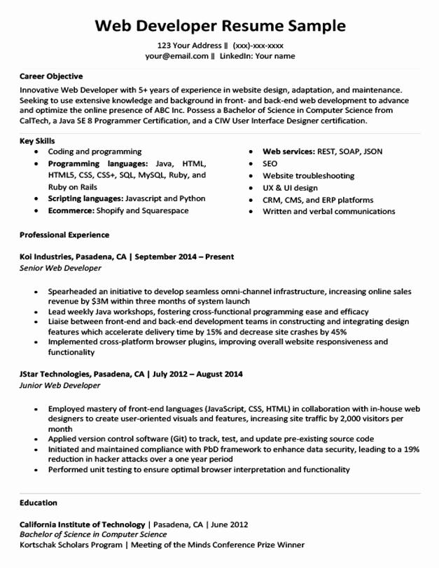 Web Developer Resume Template Elegant Web Developer Resume Sample & Writing Tips