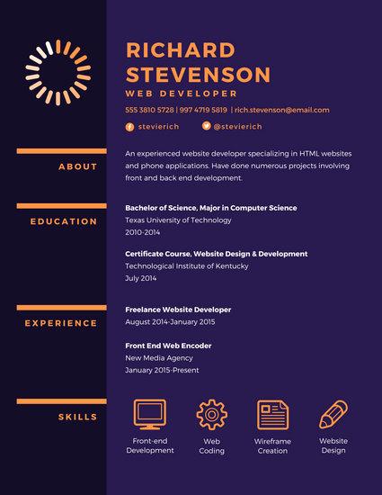 Web Developer Resume Template Fresh Purple Web Developer Resume Templates by Canva