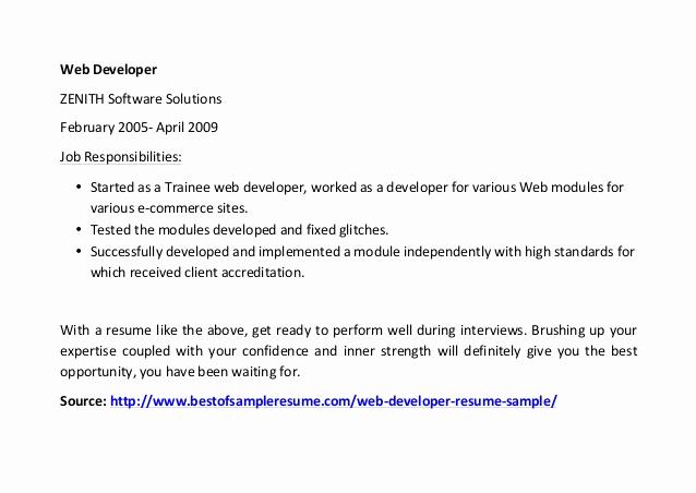 Web Developer Resume Template Inspirational Web Developer Resume Sample