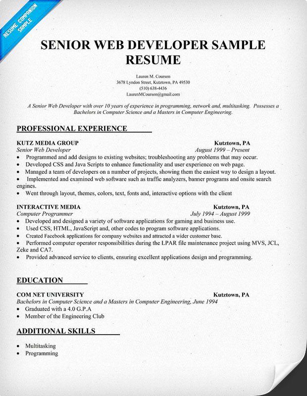 Web Developer Resume Template Lovely Resume Sample Senior Web Developer Resume Panion