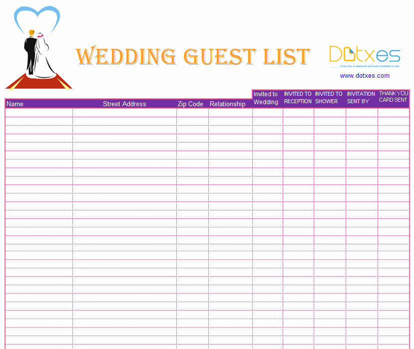 Wedding Guest List Excel Beautiful A Preofesional Excel Blank Wedding Guest List