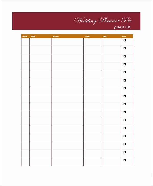 Wedding Guest List Excel Beautiful Sample Wedding Guest List 7 Documents In Pdf Word Excel