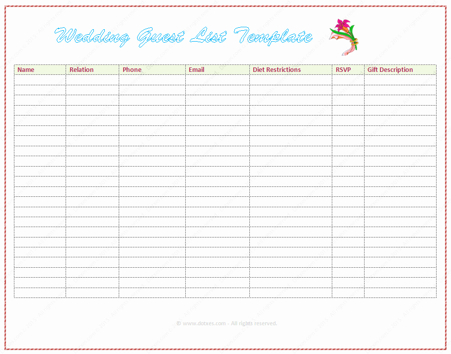 Wedding Guest List Excel Beautiful Wedding Guest List Template Word Dotxes
