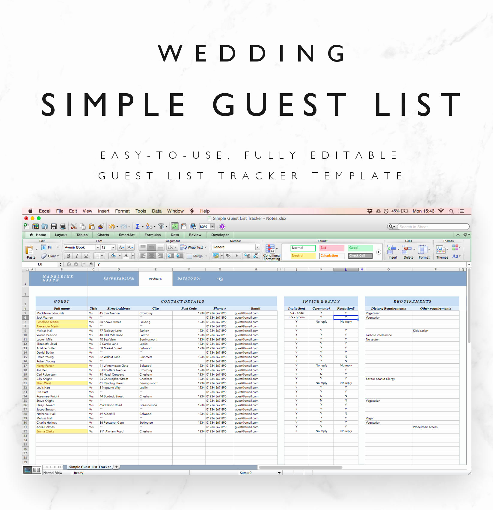 Wedding Guest List Excel Elegant Wedding Guest List Spreadsheet Wedding Guest List Tracker