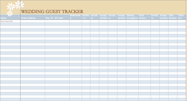 Wedding Guest List Excel Elegant Wedding Guest List Template