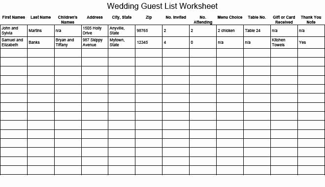 Wedding Guest List Excel Fresh 41 Free Guest List Templates Word Excel Pdf formats