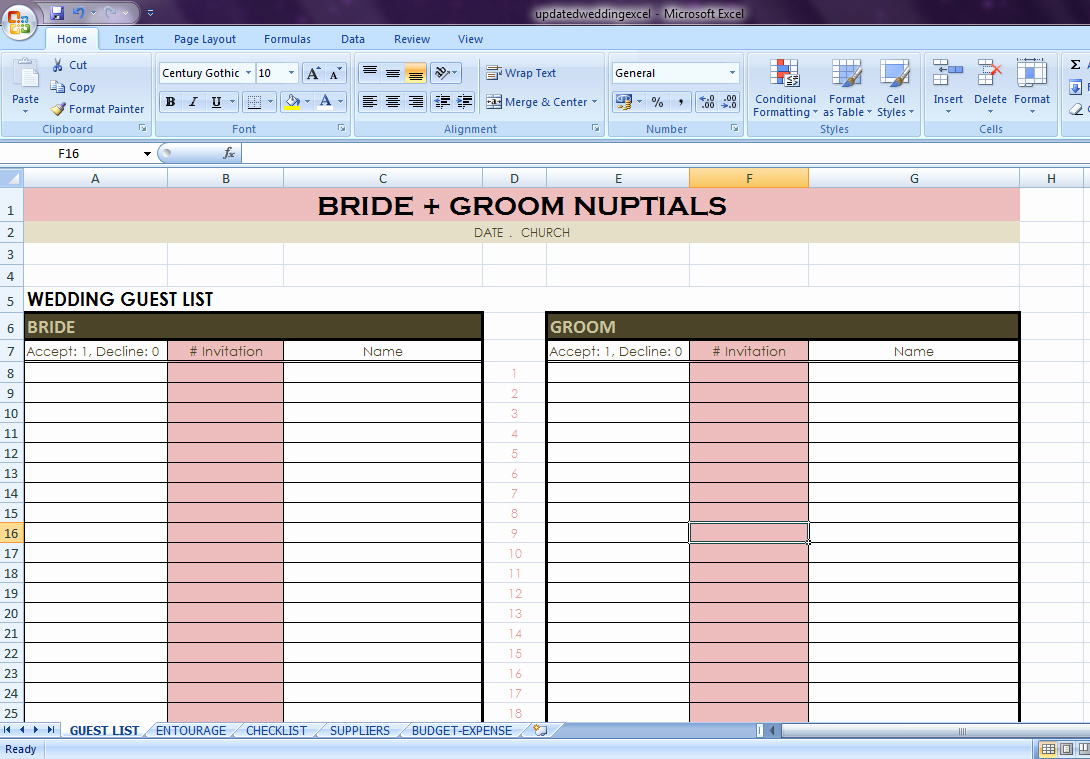 Wedding Guest List Excel Inspirational Wedding Checklist Excel