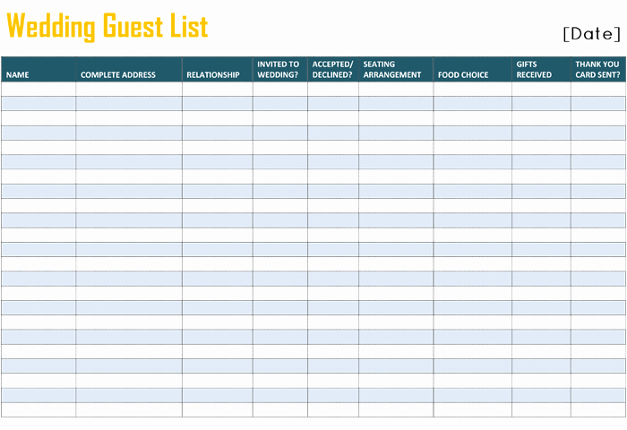 Wedding Guest List Excel Luxury to Free Printable Wedding Guest List Template for Word and