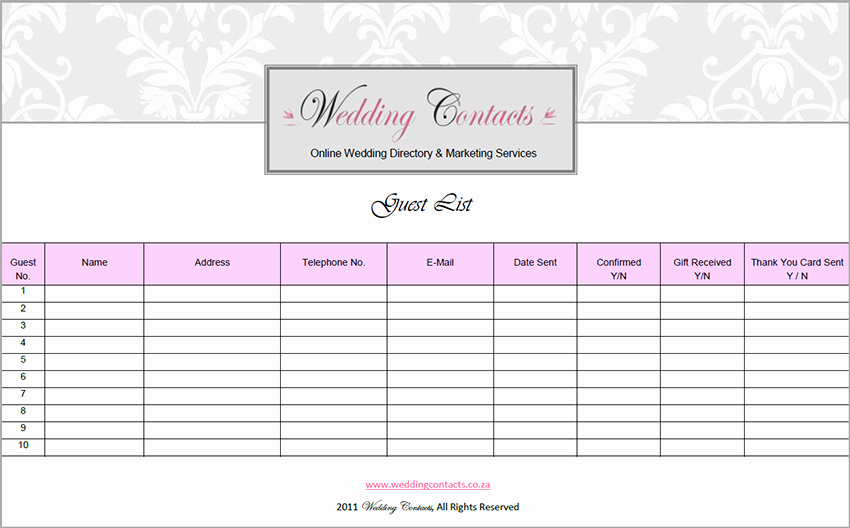 Wedding Guest List Excel New 7 Wedding Guest List Template Free Word Excel Pdf formats