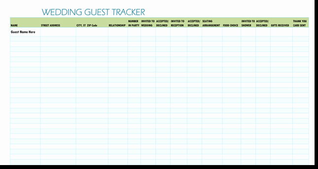 Wedding Guest List Excel New Free Wedding Guest List Templates for Word and Excel