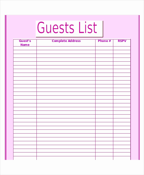 Wedding Guest List Excel New Wedding Guest List Template 9 Free Word Excel Pdf