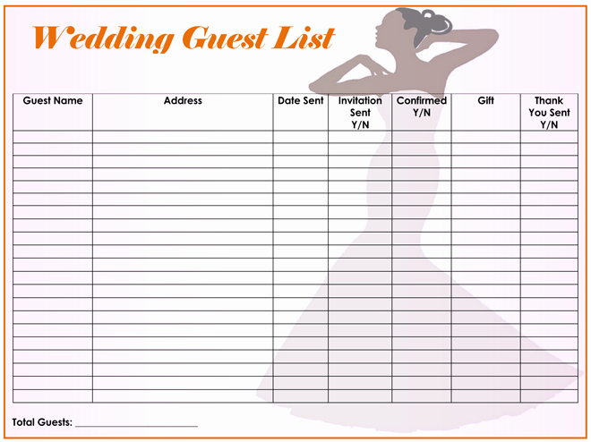 Wedding Guest List Excel Unique Free Wedding Guest List Templates for Word and Excel