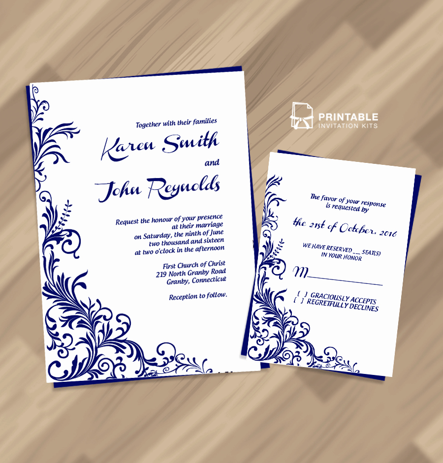 Wedding Invitation Templates Free Awesome Free Pdf Wedding Invitation Download Foliage Borders