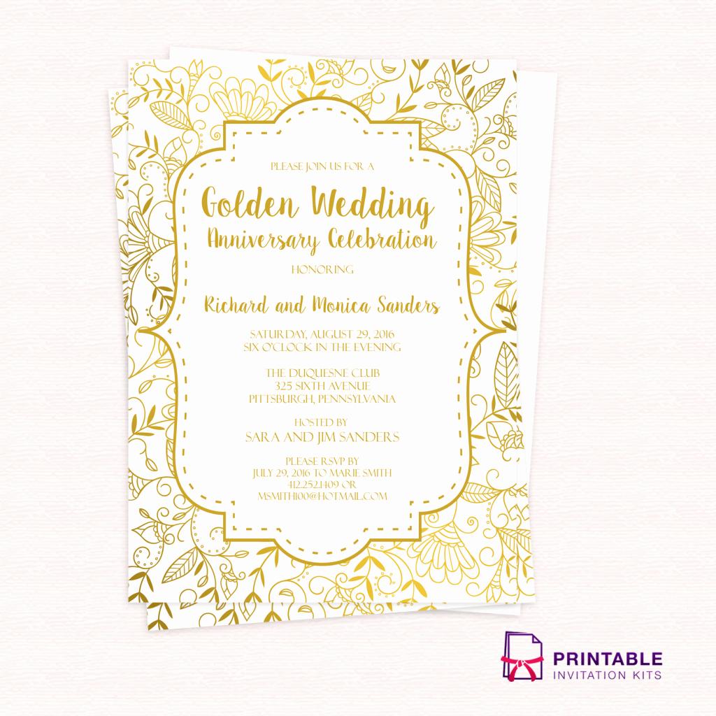 Wedding Invitation Templates Free Beautiful Free Pdf Template Golden Wedding Anniversary Invitation