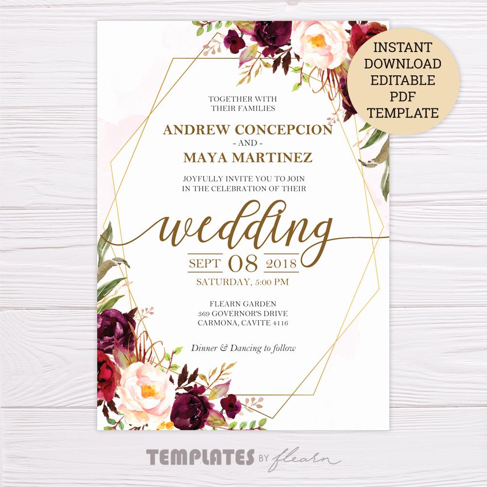 Wedding Invitation Templates Free Inspirational Marsala Flowers with Gold Frame Wedding Invitation