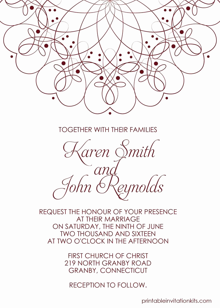 Wedding Invitation Templates Free Inspirational Spiral Border Invitation Free Pdf Template for Weddings