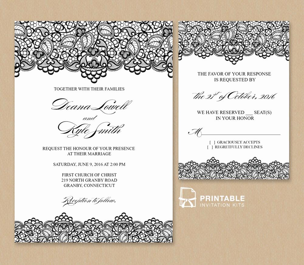 Wedding Invitation Templates Free Lovely Black Lace Vintage Wedding Invitation and Rsvp ← Wedding