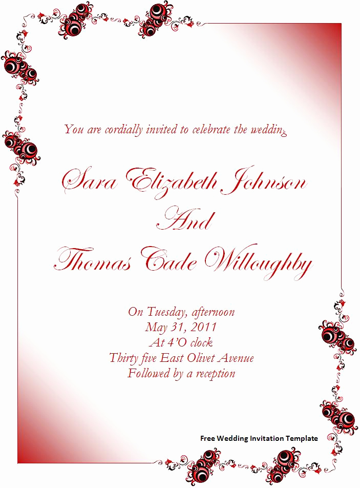 Wedding Invitation Templates Free Lovely Free Wedding Invitation Templates