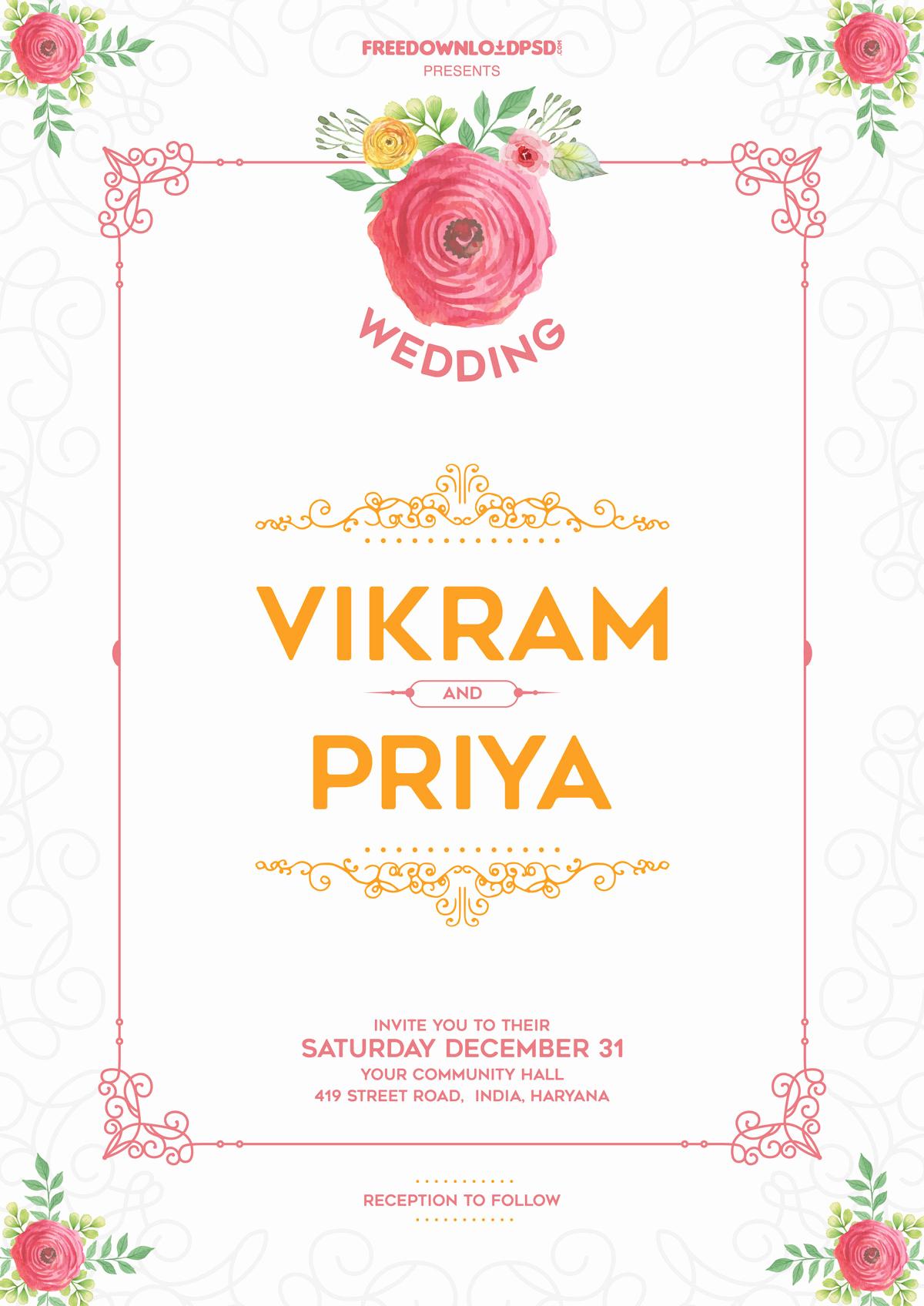 Wedding Invitation Templates Free Luxury 30 Elegant Wedding Invitation Psd Templates