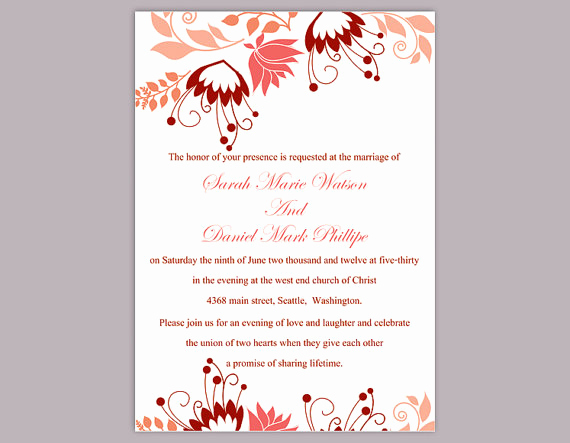 Wedding Invitation Templates Word Elegant Diy Wedding Invitation Template Editable Word File Instant