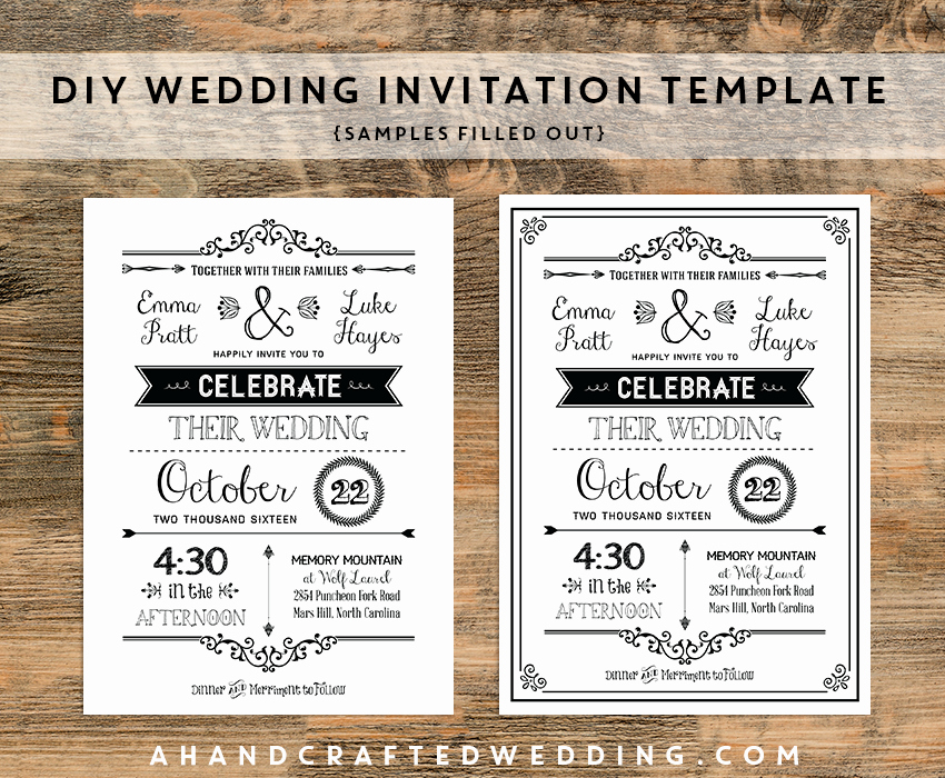 Wedding Invitation Templates Word Fresh Diy Black Rustic Wedding Invitation Templates Samples