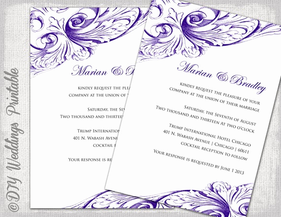 Wedding Invitation Templates Word Fresh Wedding Invitation Template Eggplant Diy Wedding Invitations