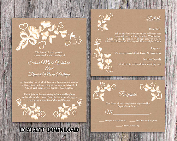 Wedding Invitation Templates Word Inspirational Diy Lace Wedding Invitation Template Set Editable Word