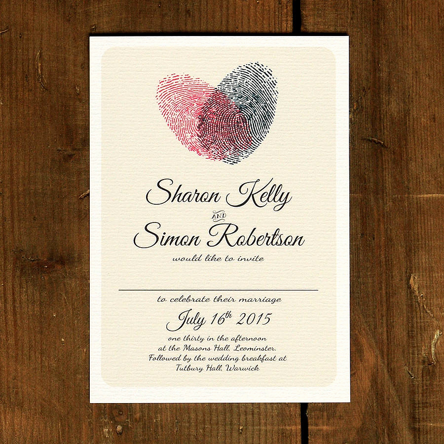 Wedding Invitations with Pictures Awesome Fingerprint Heart Wedding Invitation and Save the Date by