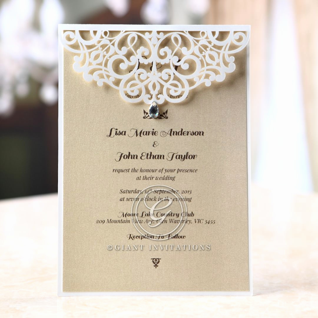 Wedding Invitations with Pictures Awesome Jeweled Laser Cut Modern Wedding Invitations