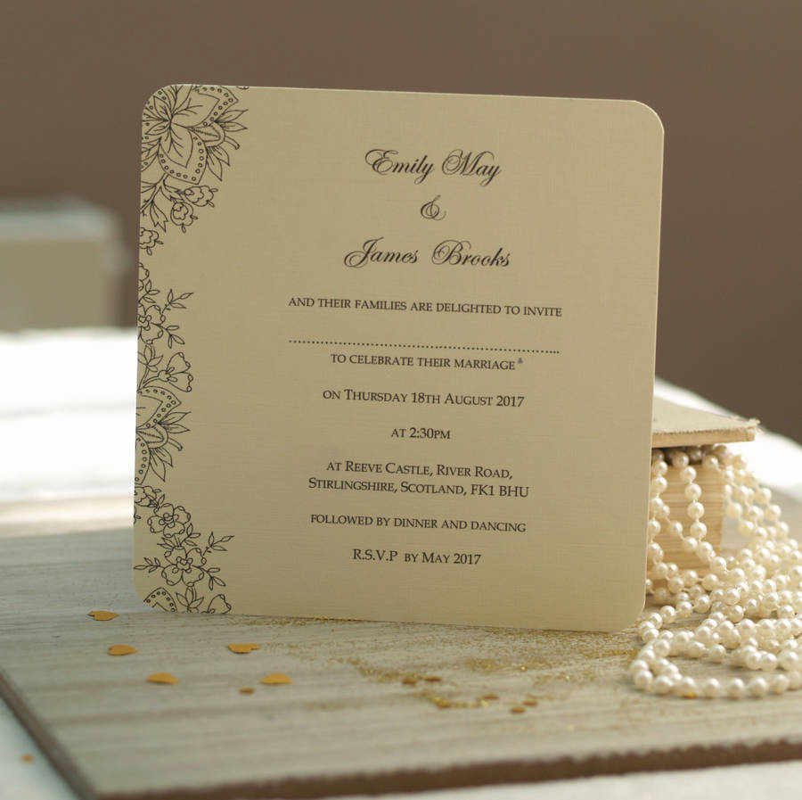 Wedding Invitations with Pictures Best Of Vintage Lace Wedding Invitations by Beautiful Day