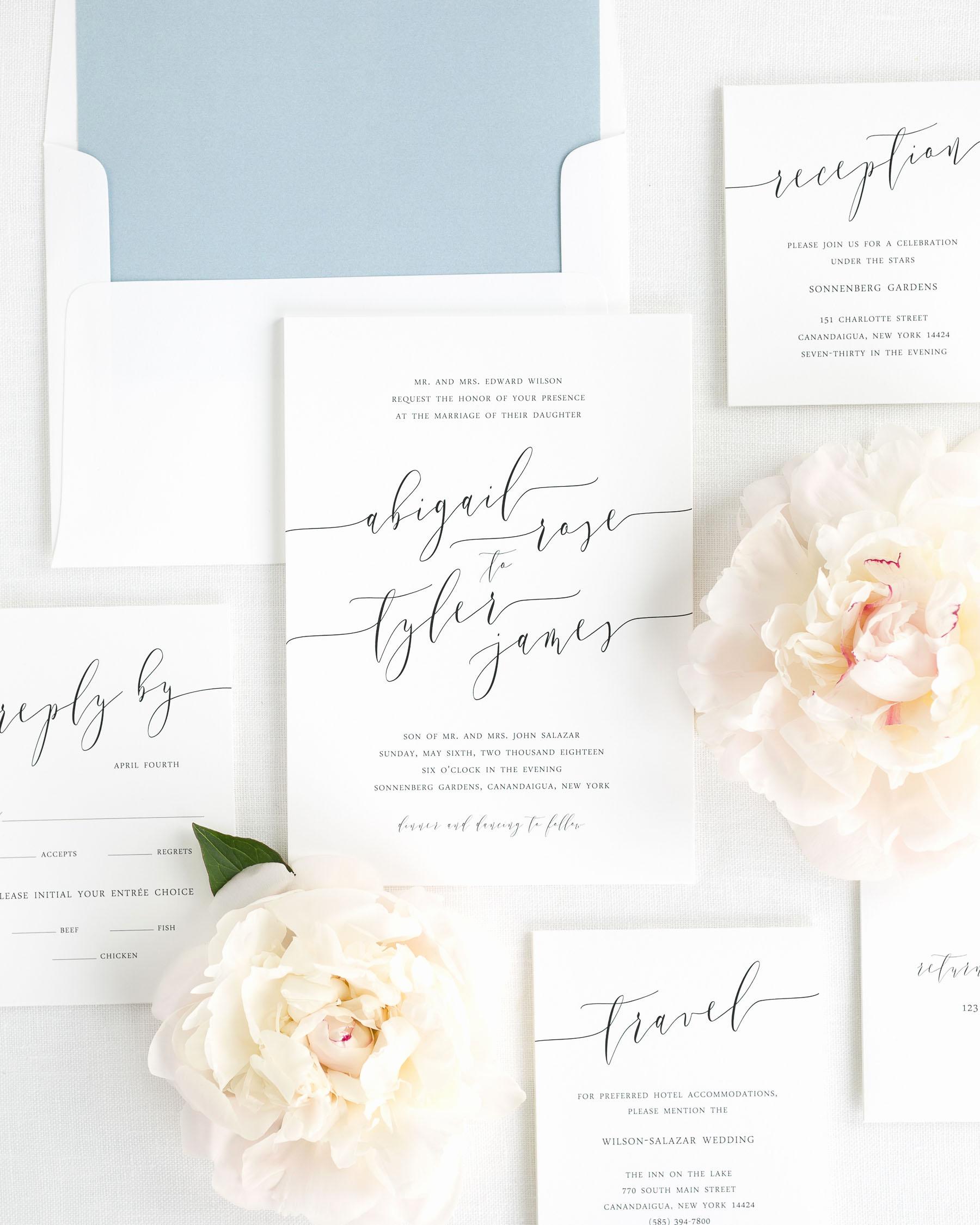 Wedding Invitations with Pictures Elegant Romantic Calligraphy Wedding Invitations Wedding