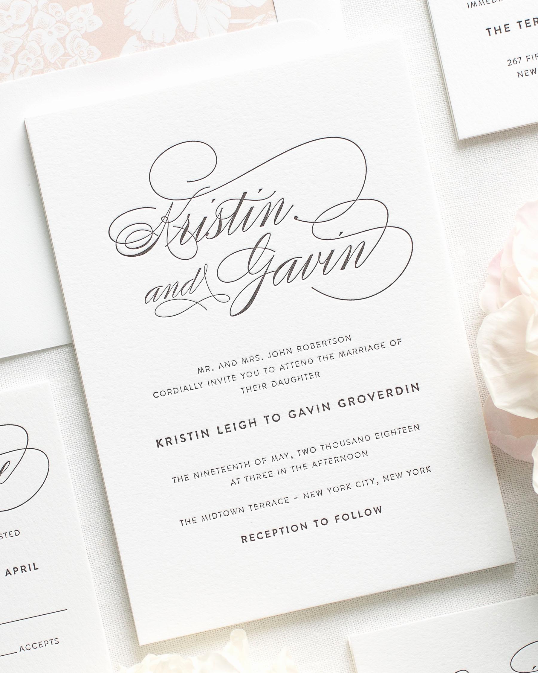 Wedding Invitations with Pictures Inspirational Script Elegance Letterpress Wedding Invitations