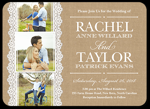 Wedding Invitations with Pictures Lovely Burlap and Lace 5x7 Wedding Invitations