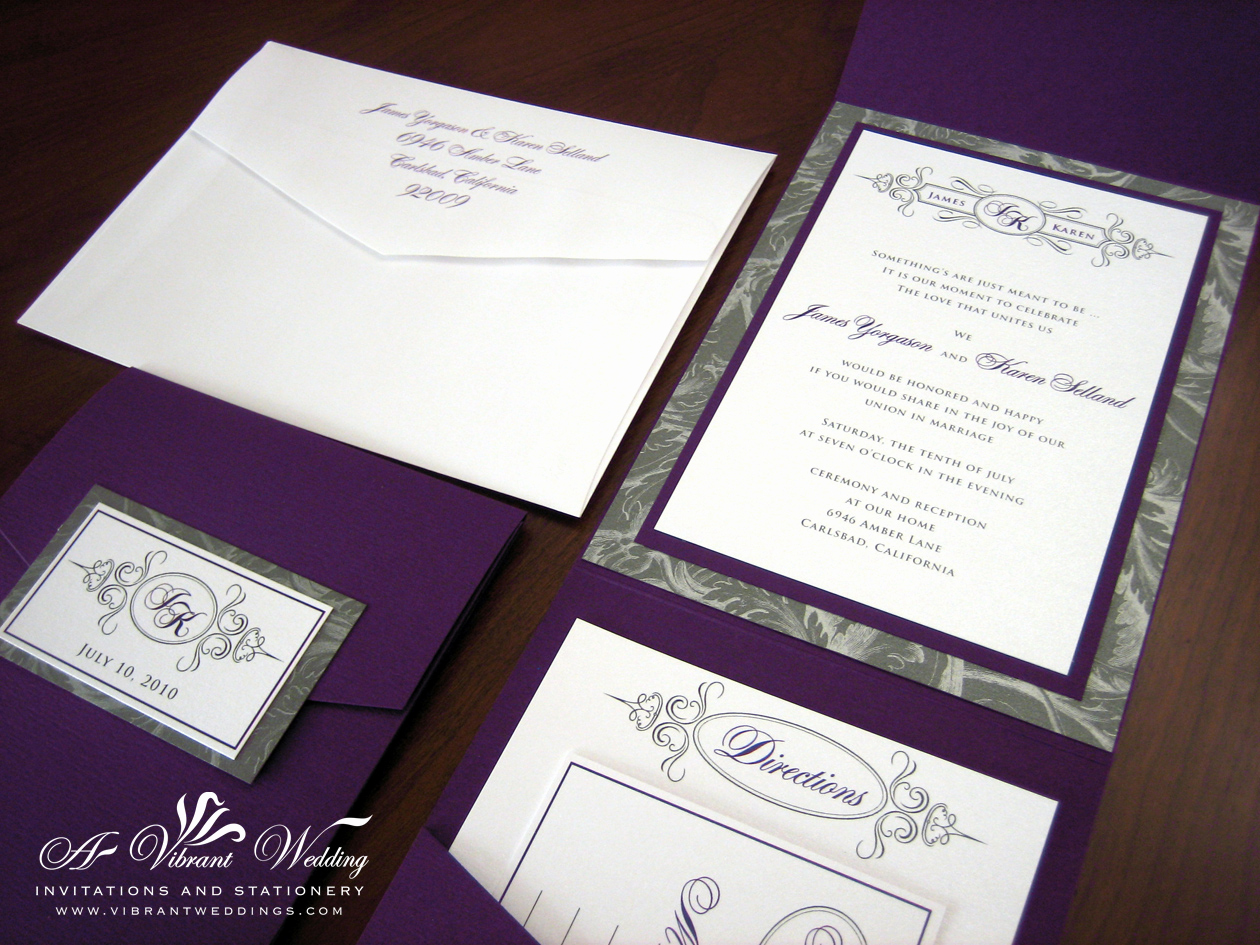 Wedding Invitations with Pictures Luxury Purple and Gray Wedding Invitation – A Vibrant Wedding