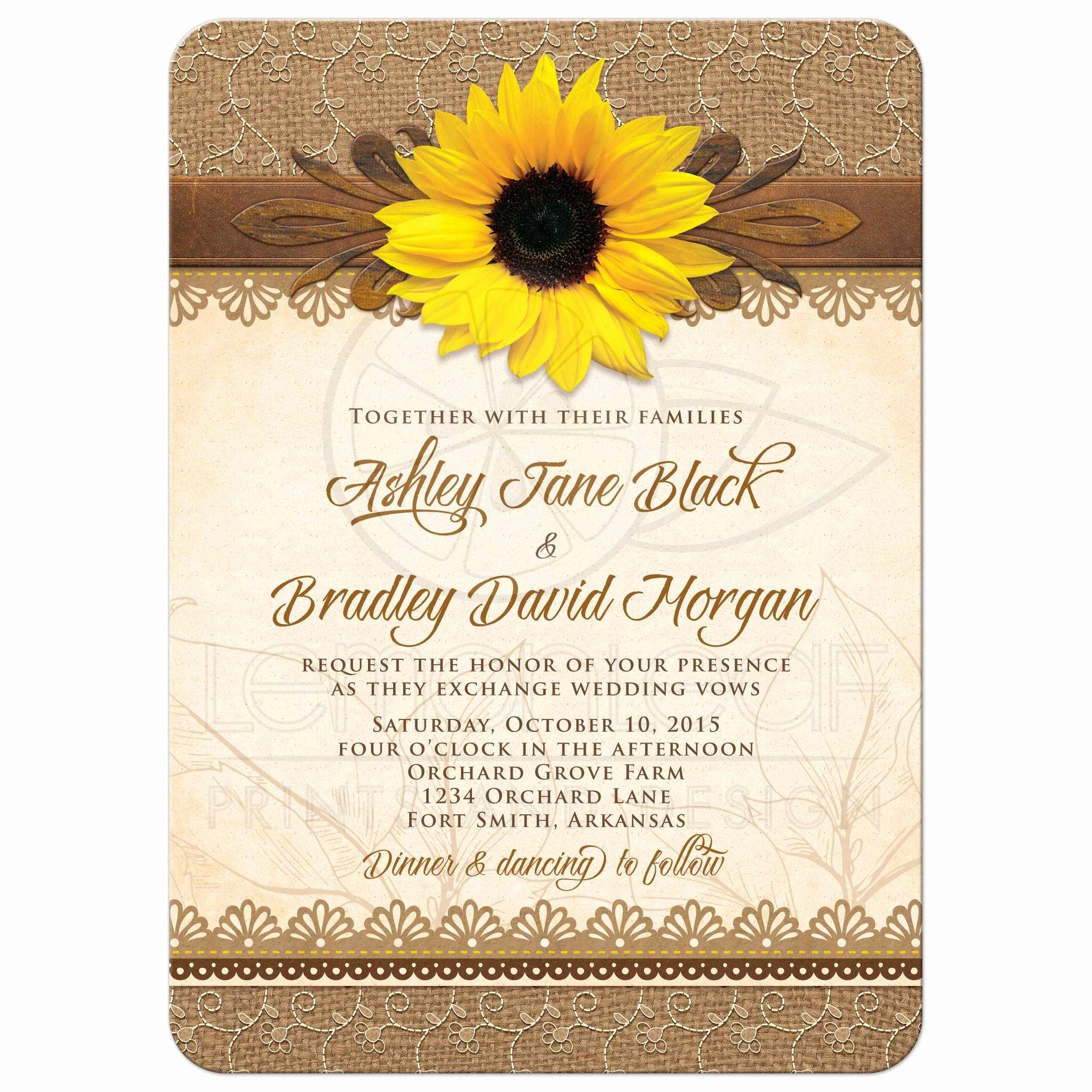 Wedding Invitations with Pictures New Wedding Invitation Rustic Sunflower Burlap Lace Wood