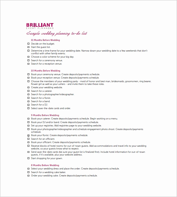 Wedding List to Do Beautiful Wedding to Do List Template 8 Free Word Excel Pdf