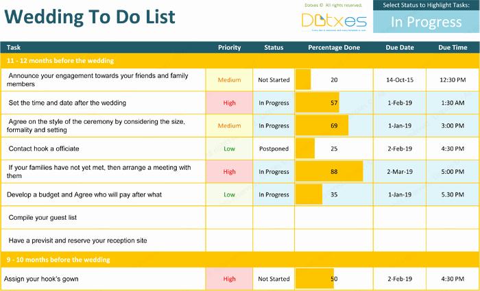 Wedding List to Do Lovely List Templates Dotxes