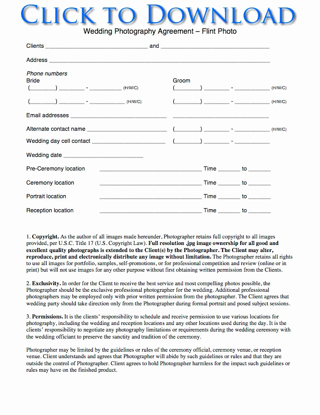 Wedding Photography Contract Pdf Awesome Free Wedding Graphy Contract forms
