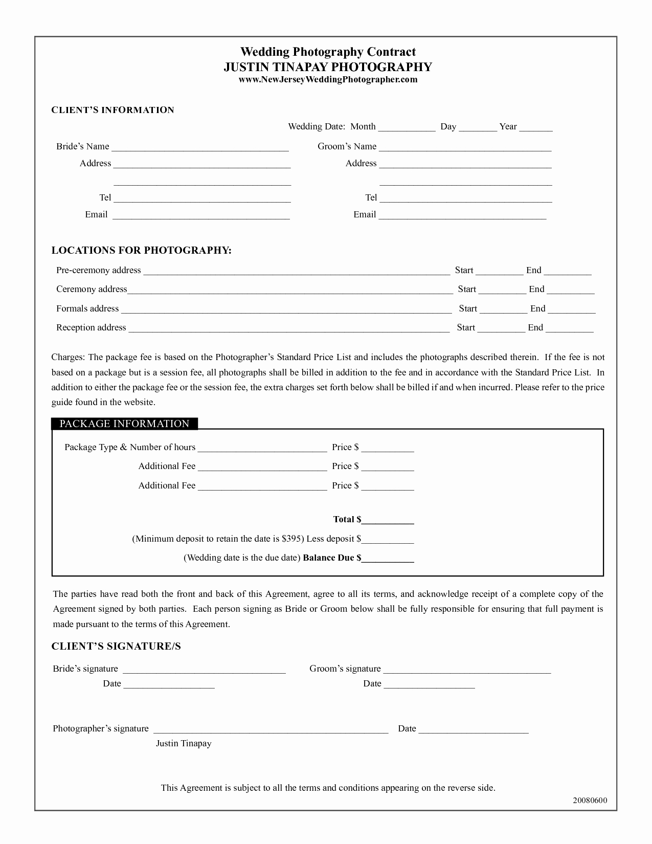 Wedding Photography Contract Pdf Awesome Photography Contract Template