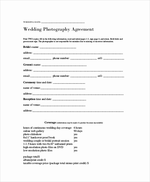 Wedding Photography Contract Pdf Beautiful Graphy Agreement Contract Sample 7 Examples In