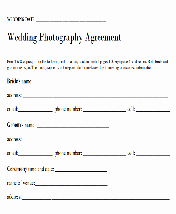 Wedding Photography Contract Pdf Beautiful Sample Wedding Contract Agreements 9 Examples In Word Pdf