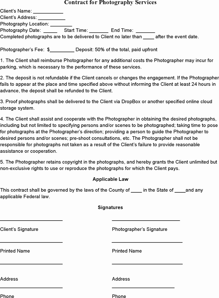 Wedding Photography Contract Pdf Fresh event Graphy Contract Template